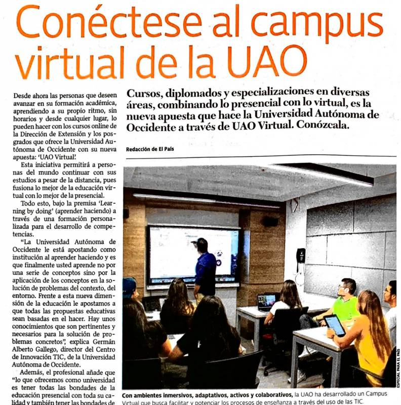 Noticia: Conéctese al Campus Virtual de la UAO