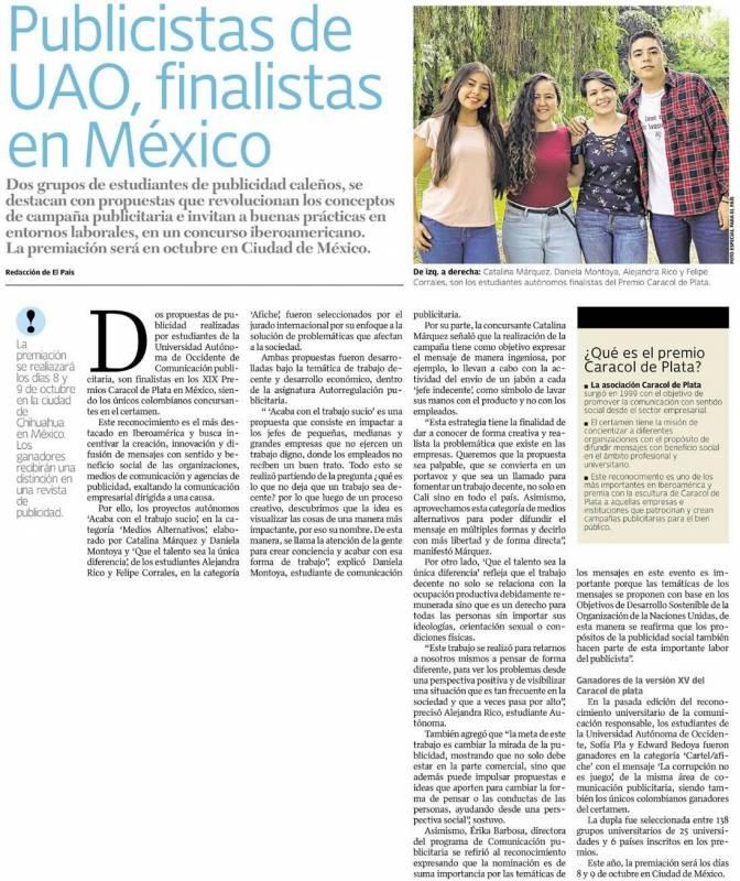 Publicistas de UAO, finalistas en México.